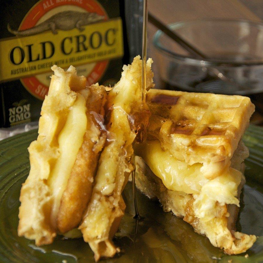 Chicken Croc Waffle Sandwich Old Croc Cheese