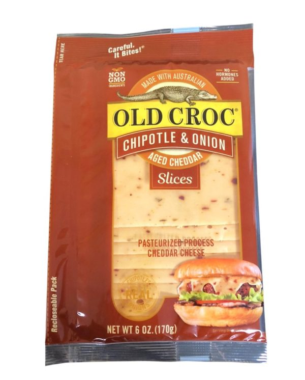 Old Croc Chipotle and Onion cheddar cheese slices